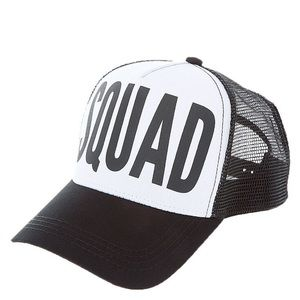 """Claire's soft black and white front reads """"squad"""""""